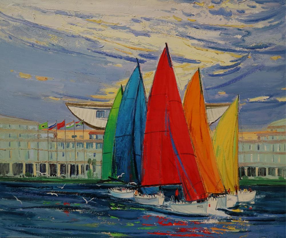 厦门国际会展中心金砖五国国旗迎风飘荡,九只热情的厦门市鸟白鹭喜迎
